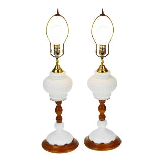 Vintage Mid Century White Hobnail Glass Table Lamps - a Pair For Sale