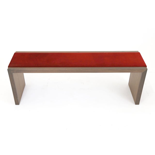 Walnut Bench With Red Velvet Upholstered Seat - Image 3 of 7