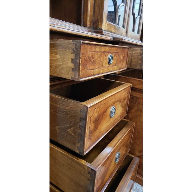 20th Century English Traditional Glazed Walnut Breakfront Cabinet For Sale - Image 10 of 13