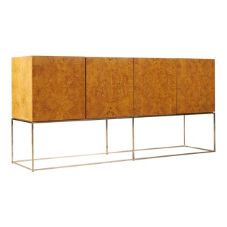 Milo Baughman Olive Burl Credenza on Thin Line Chrome Base For Sale