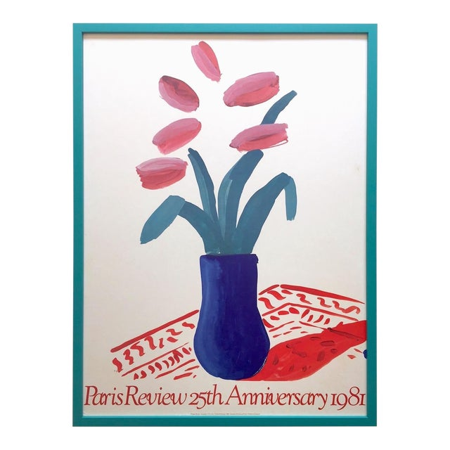 """David Hockney Rare Vintage 1981 Lithograph Print Framed"""" Paris Review """" 25th Anniversary Collector's Poster For Sale"""