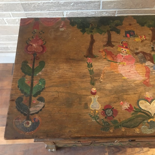Early 21st Century Dutch Folk Art Painted Oak Chest For Sale - Image 9 of 13