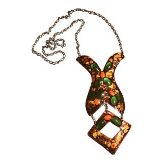 Vintage Necklace Enamel Copper Statement Long For Sale