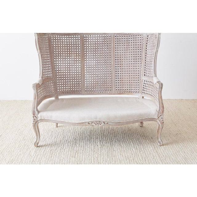 Mid 20th Century French Louis XV Style Hooded Balloon Canopy Porter's Settee For Sale - Image 5 of 13