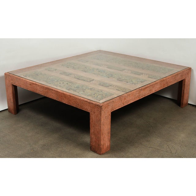 Glass Moroccan Handcrafted Large Square Coffee Table For Sale - Image 7 of 10