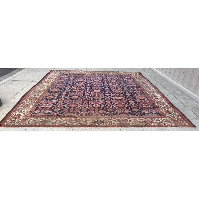Vintage Design Decorative Blue Background Color Mahal Rug- 9′5″ × 13′5″ For Sale - Image 13 of 13