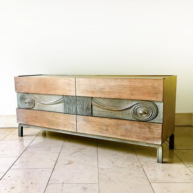 Rare Edmond Spence designed Walnut Six Drawer Cabinet Sweden circa 1950Central panels finished in a contrasting cerused...