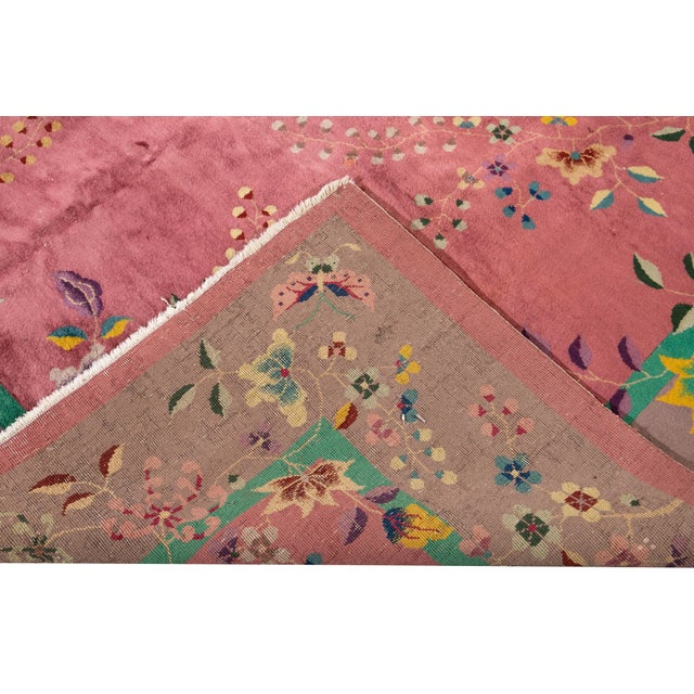 Early 20th Century Antique Art Deco Chinese Wool Rug For Sale - Image 9 of 11
