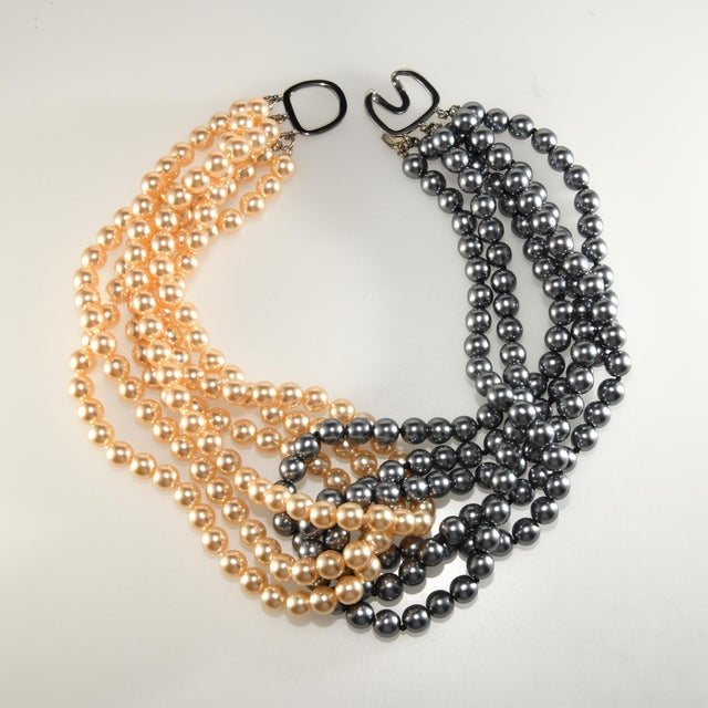 2000 - 2009 Kenneth Jay Lane Necklace Cream and Gray Entwined Faux Pearls For Sale - Image 5 of 5