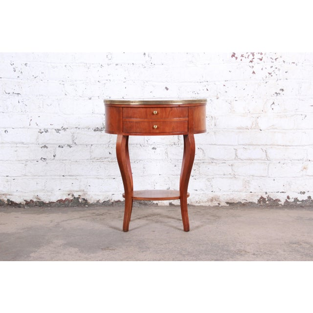 French Baker Furniture French Regency Mahogany and Brass Side Table For Sale - Image 3 of 13