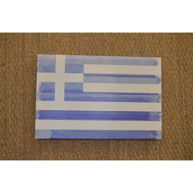 Parvez Taj Greek Flag Painting - Image 4 of 6