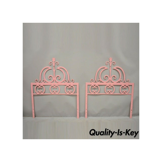 Mid 20th Century Vintage Italian Gothic Iron Hollywood Regency Twin or King Bed Headboard - a Pair For Sale - Image 13 of 13