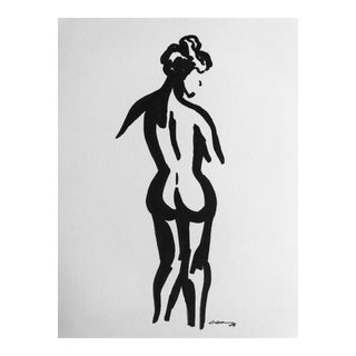 "Original ""Standing Lady"" Pen & Ink Drawing"