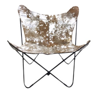 Silver Finish Leather Butterfly Chair For Sale
