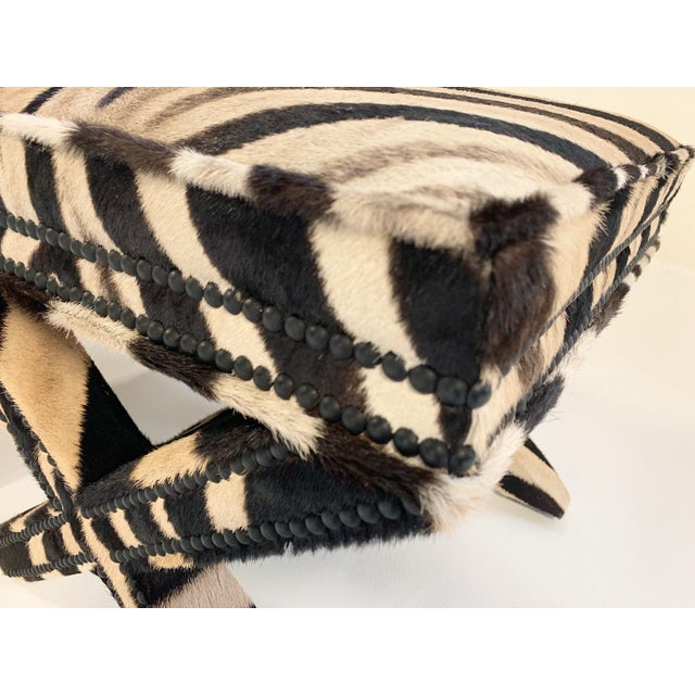 White Billy Baldwin Style X Benches Restored in Zebra Hide - a Pair For Sale - Image 8 of 10