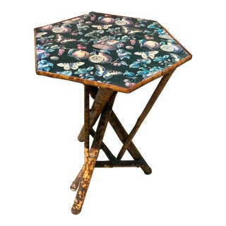 1910s Victorian English Butterfly Print Top Scorched Bamboo Table