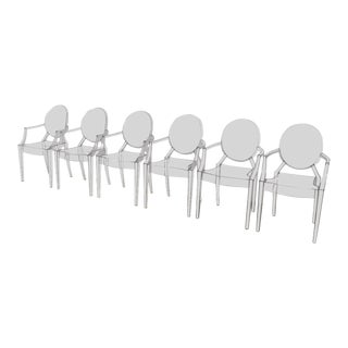 Kartell Phillippe Starck Louis Ghost Chairs Set of 6 For Sale