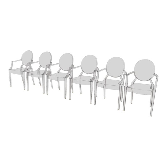 Style of Kartell Phillippe Starck Louis Ghost Chairs Set of 6 For Sale