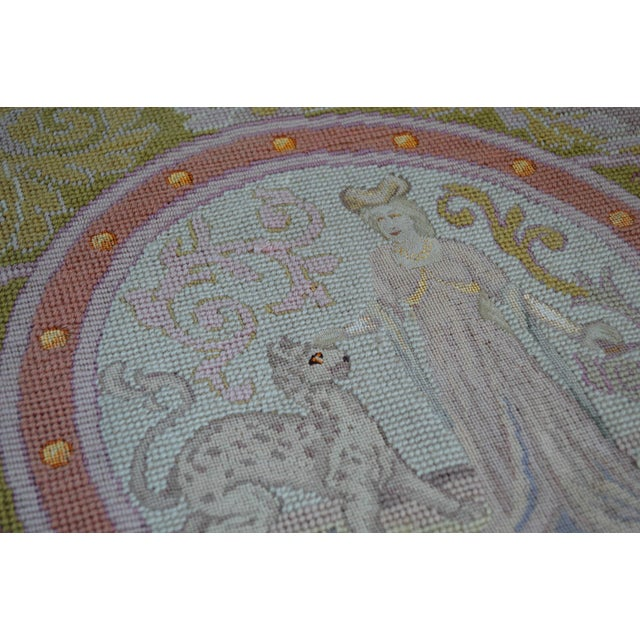 Lathe 19th Century Wool Needlepoint Panel With Lady and Cheetah For Sale - Image 10 of 13