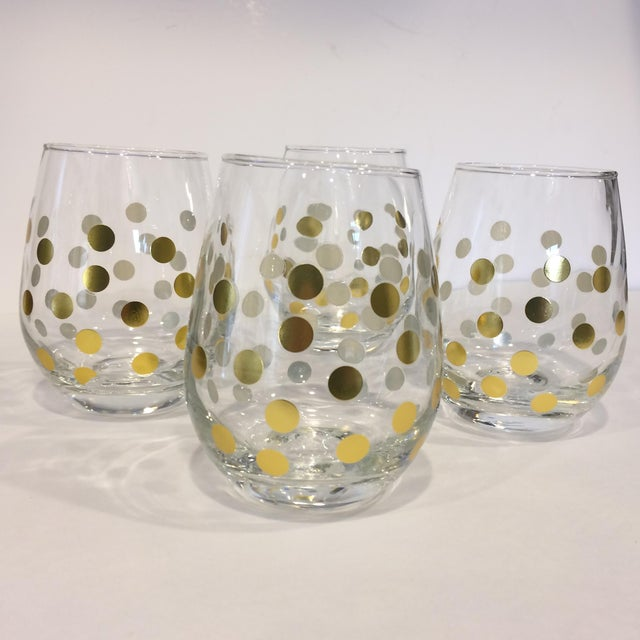 Gold Polka Dot Bar Glasses Set Of 4 Chairish
