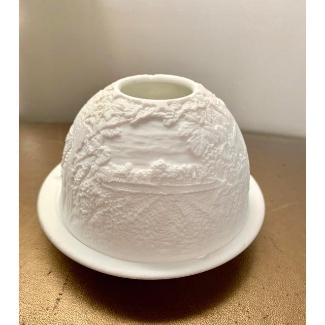 French Vintage Bernardaud France Limoges Lithophane Cityscape Porcelain Votive - Stamped For Sale - Image 3 of 6