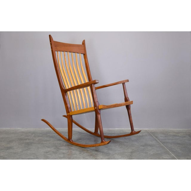 Extraordinary Bench-Made Cherry Rocking Chair, Sam Maloof Style For Sale - Image 10 of 10