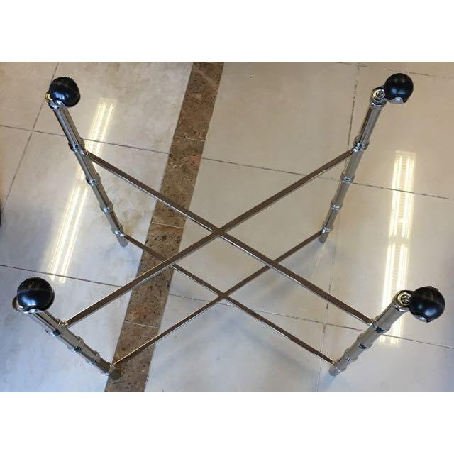 1970s Hollywood Regency Chrome Bar Cart/ Tray-On-Stand For Sale - Image 10 of 11