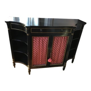 1960s French Neo Classical Black Lacquer Credenza & Sideboard For Sale