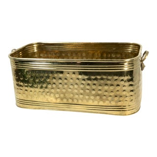 Late 20th Century Brass Hand Hammered Long Planter For Sale