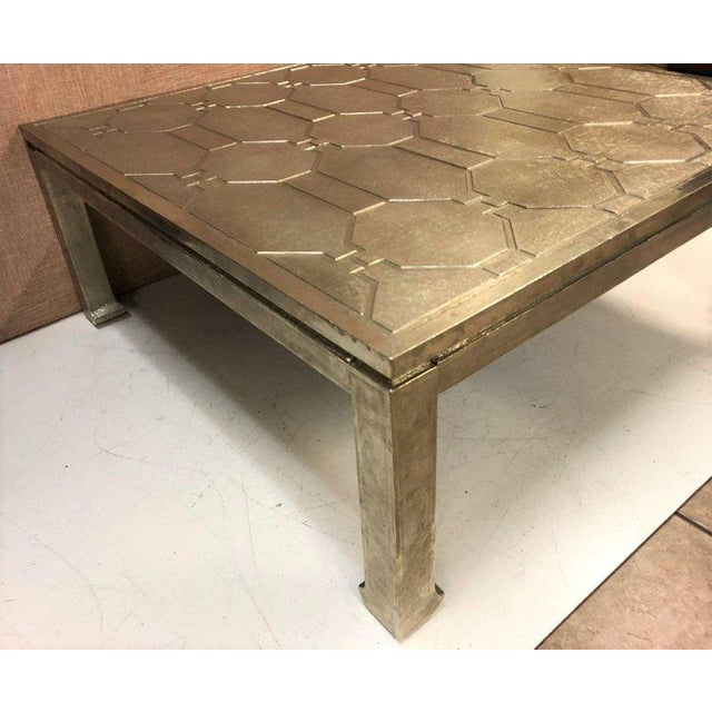 1970s Modern Silver Clad Coffee Table For Sale - Image 5 of 6