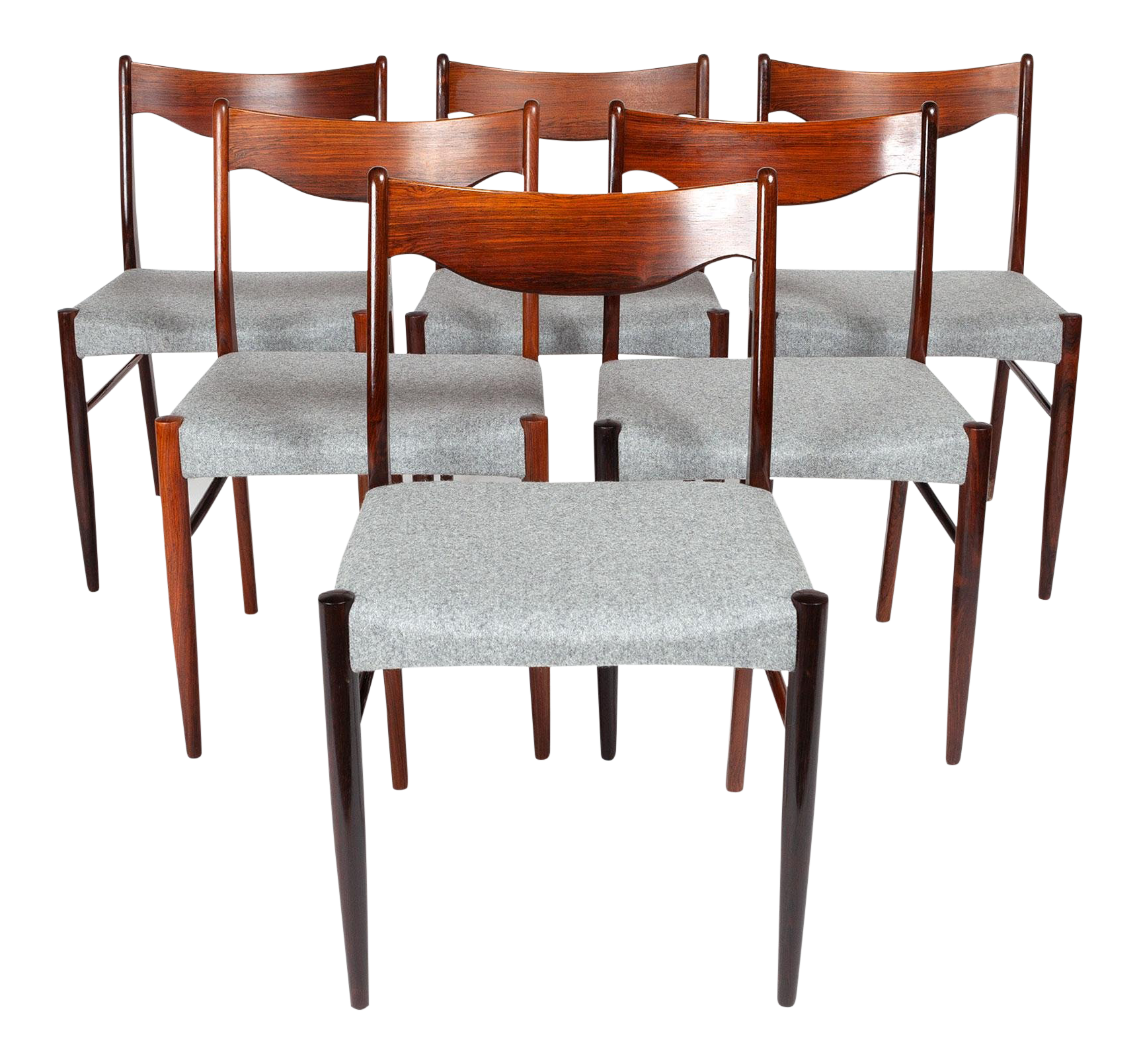 Vintage Danish Modern Rosewood Dinning Chairs  Set Of 6