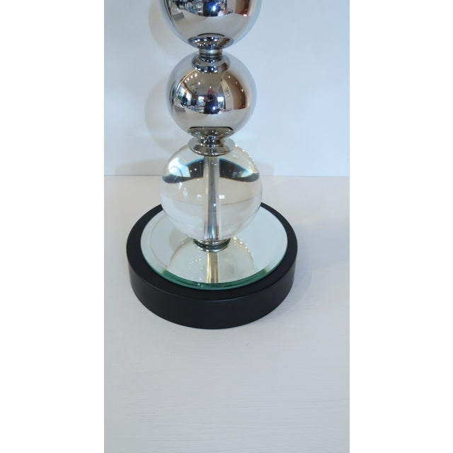 Vintage Chrome and Crystal Sphere Lamp - Image 4 of 5