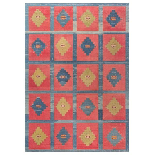 Blue, Pink and Sandy Beige Vintage Turkish Kilim Rug For Sale - Image 9 of 9