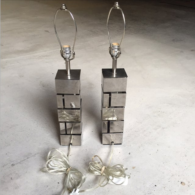 Laurel Lamp Co. Architectural Metal Lamps - A Pair - Image 6 of 6