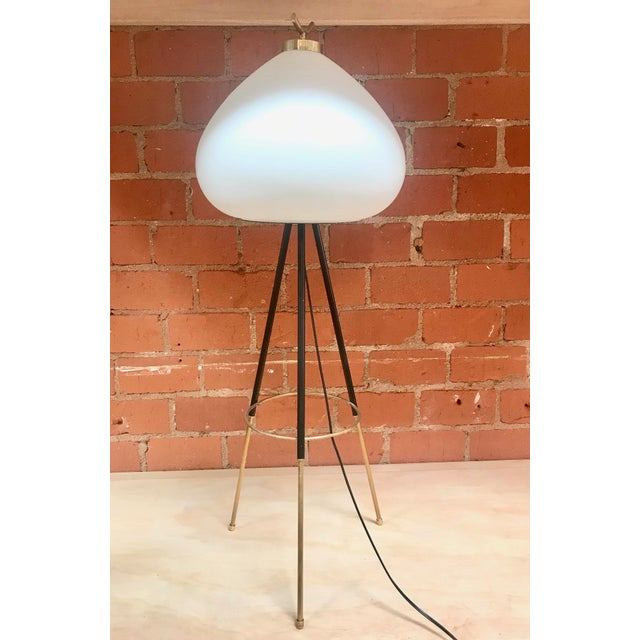 Italian Tripod Floor Lamp in Brass and Milk Glass, Italy, 1960s For Sale - Image 3 of 11