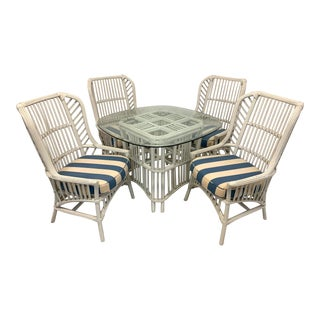 Ficks Reed Rattan Dining Set With 4 High Back Chairs and Table For Sale