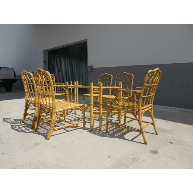 Asian Classic Chinese Chippendale Rattan Dining Room Table Base with 6 Pagoda Top Dining Chairs For Sale - Image 3 of 13