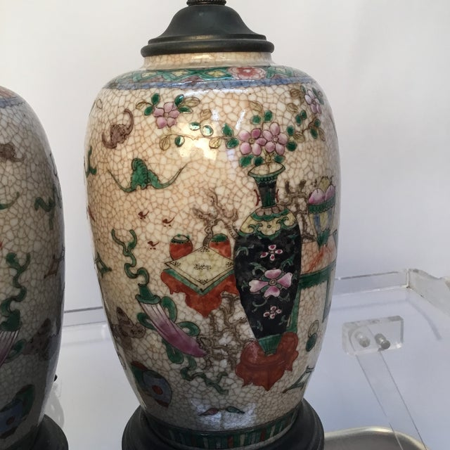 Asian 19th Century Antique Asian Hand Painted Table Lamps - a Pair For Sale - Image 3 of 13