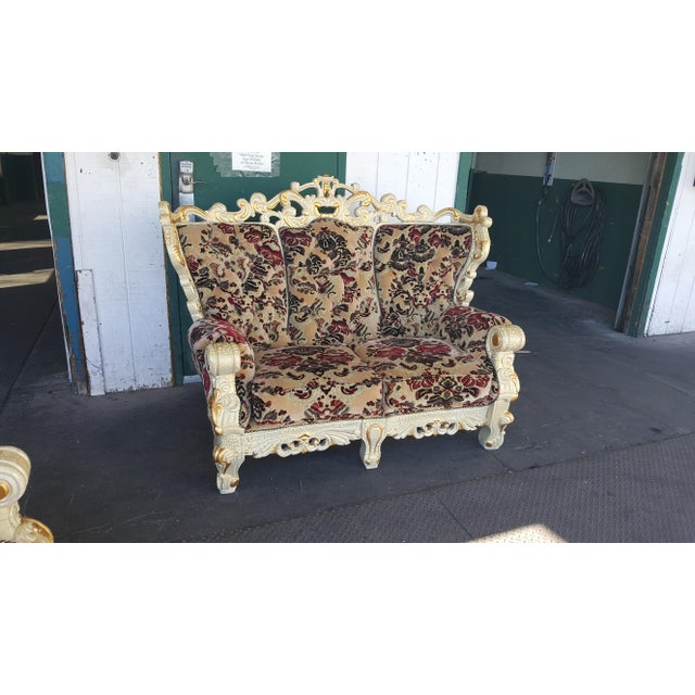 Over-sized Vintage Victorian style chair / loveseat. Unique Antique styled carved wood frame and velvet upholstery. I also...