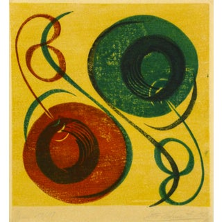 Mid-Century Modern Abstract Woodblock Print, 1969 For Sale