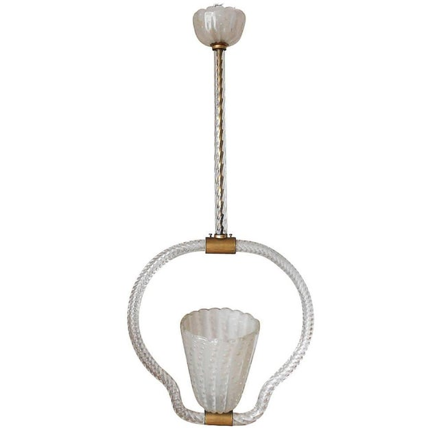 Transparent Mid 20th Century Pulegoso Pendant by Ercole Barovier For Sale - Image 8 of 8