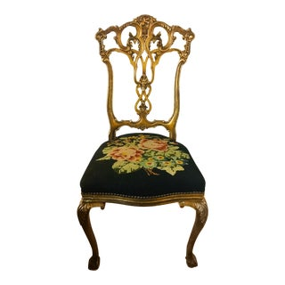 1900s Vintage Gilt Rococo Revival Side Chair (Two Available) For Sale