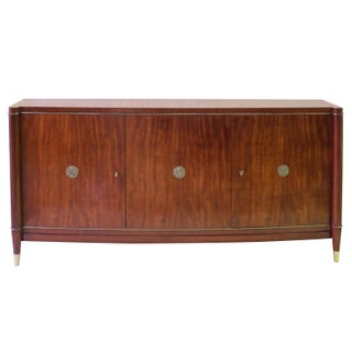 An Elegant and Exceptional Quality French 1940's 3-Door Tiger Mahogany Bowfront Sideboard in the Style of Jules Leleu