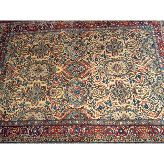 Islamic Antique Yazd Persian Carpet - 6′6″ × 9′7″ For Sale - Image 3 of 10