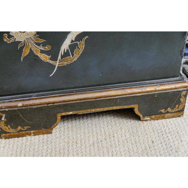 Metal Chinoiserie Chippendale Hunter Green & Gold Hand Painted For Sale - Image 7 of 13