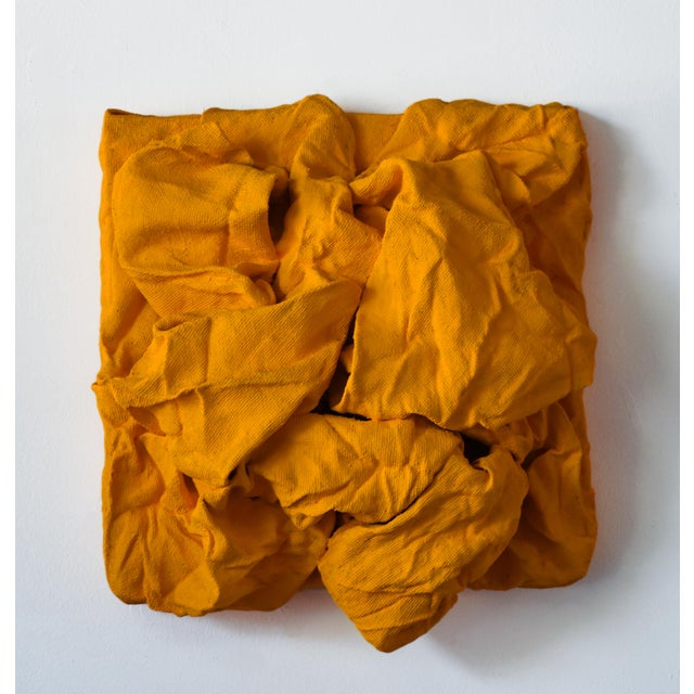 Chloe Hedden Golden Yellow Folds Mixed Media Wall Sculpture For Sale - Image 4 of 4