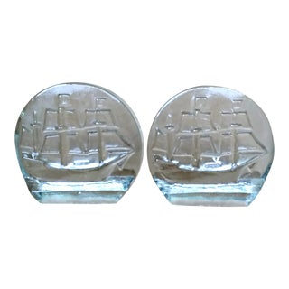 Blenko Sailing Ship Glass Bookends Mid Century - A Pair For Sale