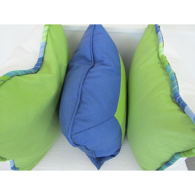 Custom Made Lime and Periwinkle Pillows - Set of 3 For Sale In West Palm - Image 6 of 7