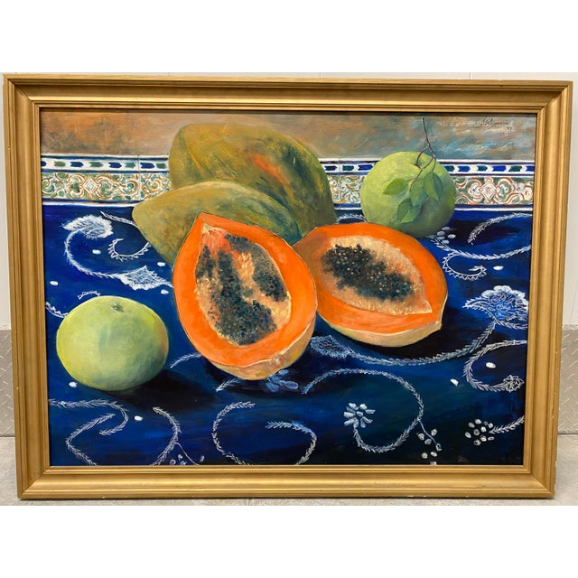 """Carmen Galigarcia """"Cuban Kitchen"""" Original Oil on Canvas Painting For Sale - Image 10 of 10"""
