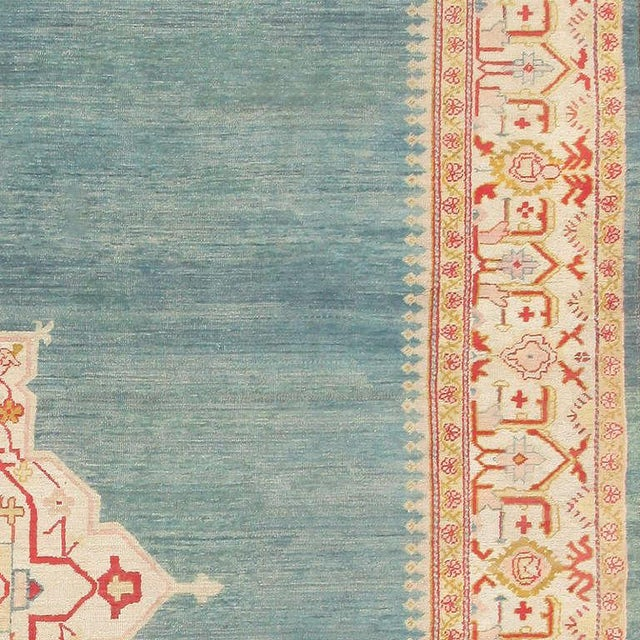 Early 20th Century Antique Turkish Oushak Light Blue Rug - 10′7″ × 16′8″ For Sale - Image 5 of 7